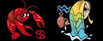 Рак и Водолей Совместимость знаков Зодиака | Кролик и удав